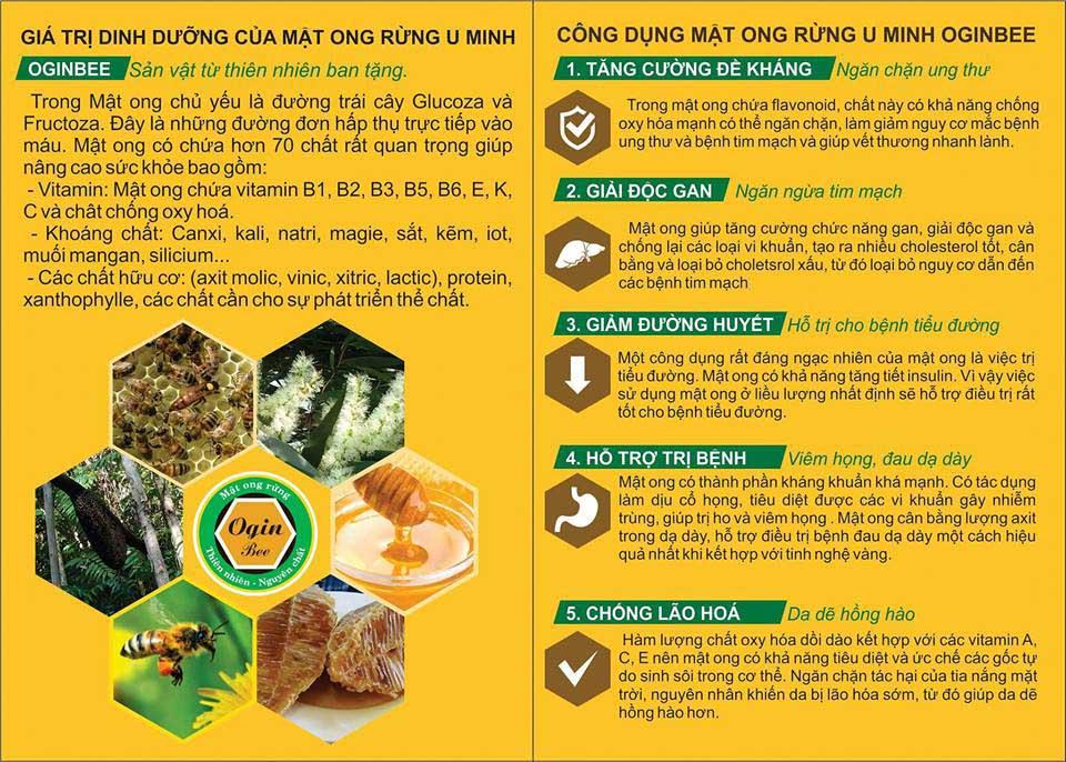 Giá trị dinh dưỡng và công dụng của mật ong rừng U Minh
